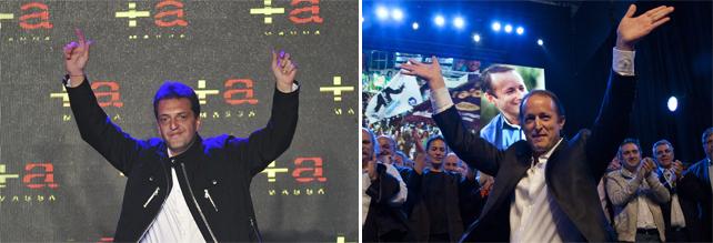 Los dos principales candidatos en las elecciones legislativas argentinas. A la izquierda, el opositor Sergio Massa, y a la derecha, el oficialista Martín Insaurralde.