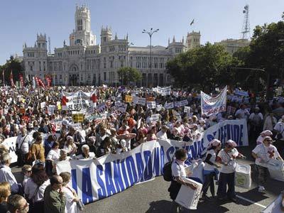La manifestación ha recorrido als calles del centro de MAdrid. EFE