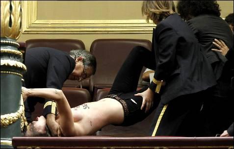 Una de ellas  ha llegado a sentarse en la barandilla que protege a la tribuna del vacío que da al hemiciclo donde se encuentran los escaños de los parlamentarios. -EFE