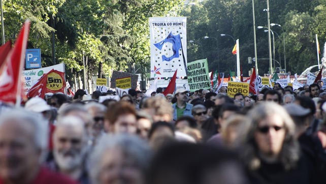 Miles de personas se manifiestan en Madrid contra las políticas de austeridad, convocados por Marea Ciudadana el pasado 1 de julio.