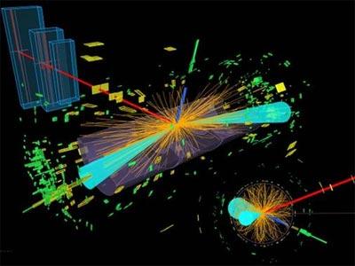 Desintegración de un bosón de Higgs en dos partículas tau (electrón en línea azul y muón en línea roja). -ATLAS-CERN