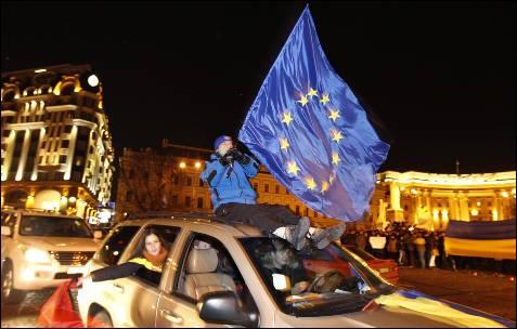 Manifestantes ucranianos pro UE