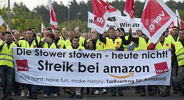 Los empleados de Amazon de la ciudad alemana Bad Hersfeld en una protesta.