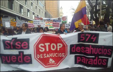 Pancarta de la cabecera en la marcha de Madrid. -AB