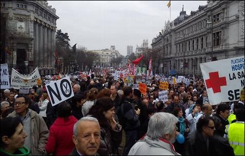 Un instante de la manifestación en Madrid. A. B.