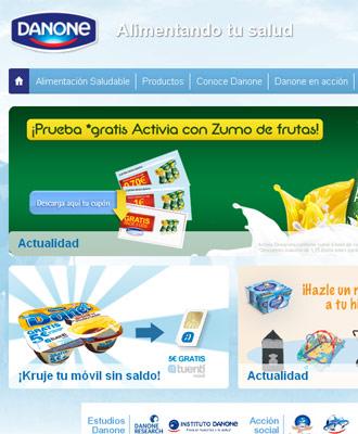 Captura de imagen de la web de Danone.