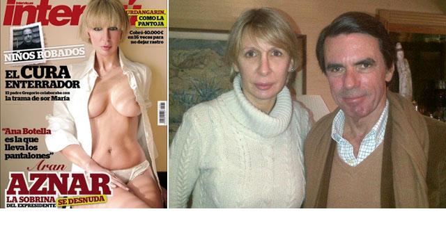 Aran Aznar, en la portada de la revista 'Interviú'. A la derecha, con su tío, José María Aznar.