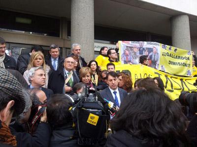 Jueces y fiscales concentrados en la Plaza de Castilla, de Madrid.