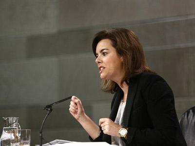 La vicepresidenta, Soraya Sáenz de Santamaría durante la rueda de prensa del Consejo de Ministros.