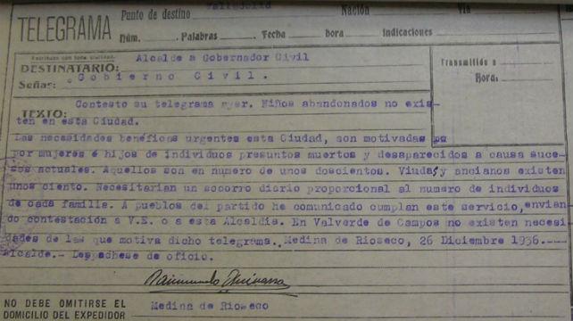 Telegrama del alcalde de Medina de Rioseco al Gobernador Civil en diciembre de 1936
