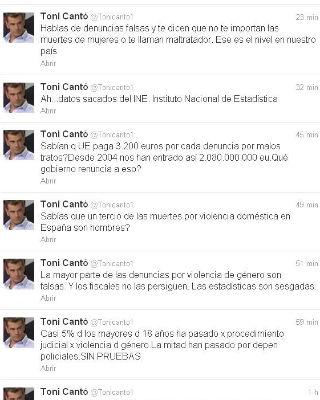 Lista de 'tuits'de Toni Cantó, esta mañana, sobre la violencia de género.