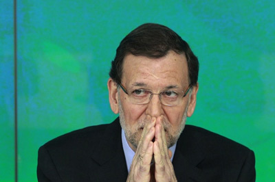 El presidente del Gobierno, Mariano Rajoy, en la sede de Génova el pasado sábado.