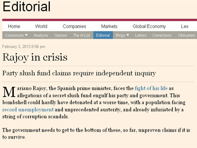 Imagen del editorial de 'Financial Times'.