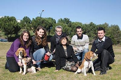 El equipo de investigación de la UAB, liderado por la doctora Fàtima Bosch (en el centro de la fotografía), con dos perros curados de la diabetes mediante terapia génica. -Pierre Caufapé