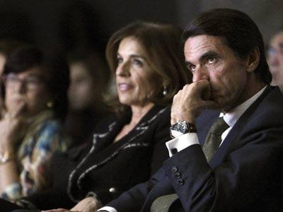 Aznar, junto a Ana Botella, en el acto del Círculo de Bellas Artes de Madrid.