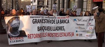 Afectados por las preferentes, en Barcelona.
