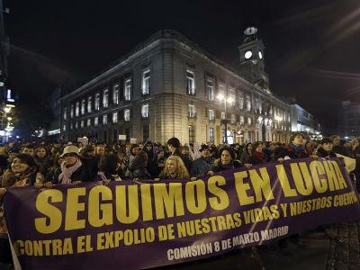 Pancarta de cabecera de la manifestación del 8 de marzo, Día de la Mujer, en Madrid. EFE