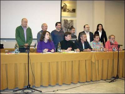 Los representantes de las organizaciones que impulsan un referéndum sobre las pensiones.