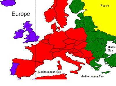 Mapa europeo de los husos horarios, tras el cambio impuesto.