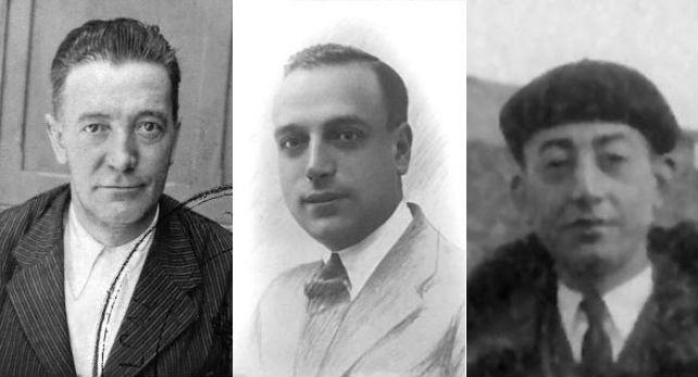 De izquierda a derecha: Alfredo Miguel Plaza, Eduardo Aparicio y Avelino Martín Cascón. Los tres fueron asesinados en Ciudad Rodrigo en diciembre de 1936