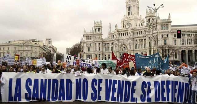 Manifestación en defensa de la Sanidad pública en Madrid, celebrada en abril de este año.