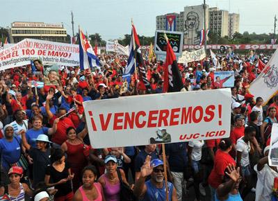 Manifestación del 1 de mayo en la Plaza de la Revolución de La Habana.