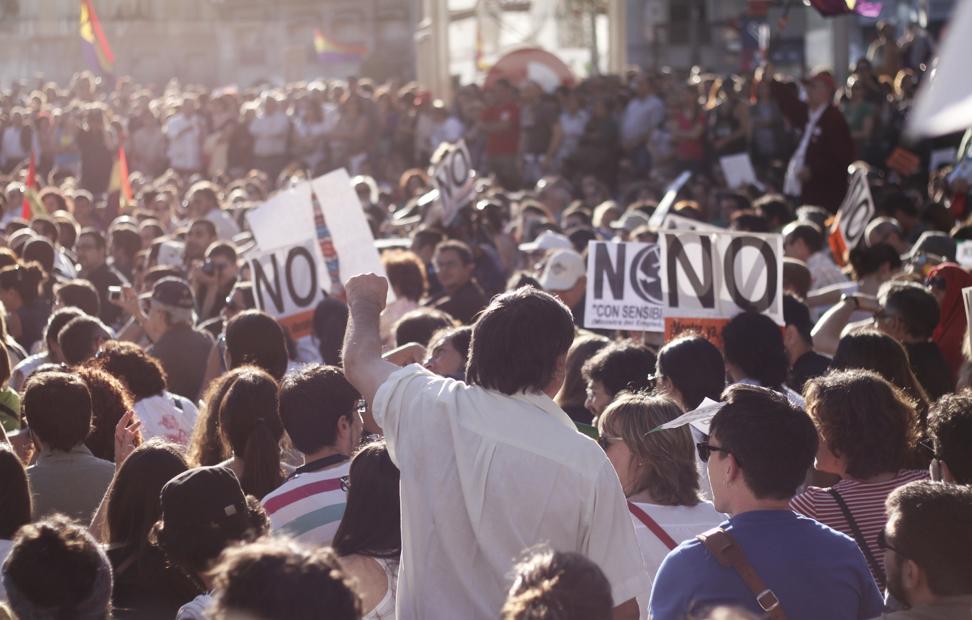 La Puerta del Sol volvió a llenarse de indignados dos años después.