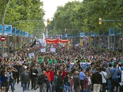 Manifestación en Barcelona este domingo/Efe