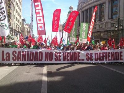 Imagen de la marcha en defensa de la sanidad pública en Madrid.