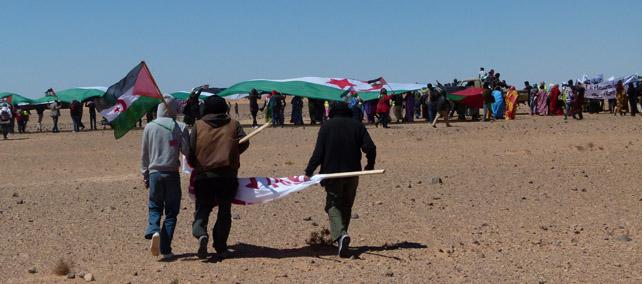 Manifestación frente al muro minado levantado por Marruecos.