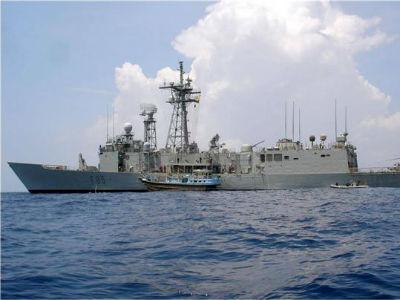 La fragata 'Navarra', que participa en la Operación Atalanta contra la piratería en aguas del océano Indico. -EFE