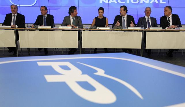 Mariano Rajoy, con la cúpula del PP, en la reunión de este lunes del Comité Ejecutivo del partido.