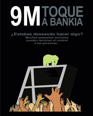 Uno de los carteles que convoca a dar un toque a Bankia.