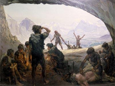 Pintura que recrea la vida en la Edad de Hielo.