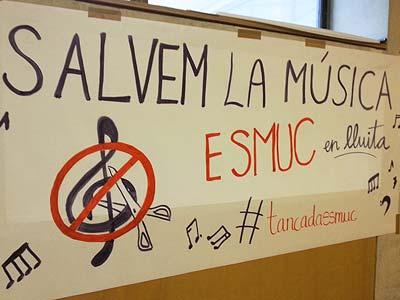 Cartel reivindicativo en la ESMUC. Fuente: BTV