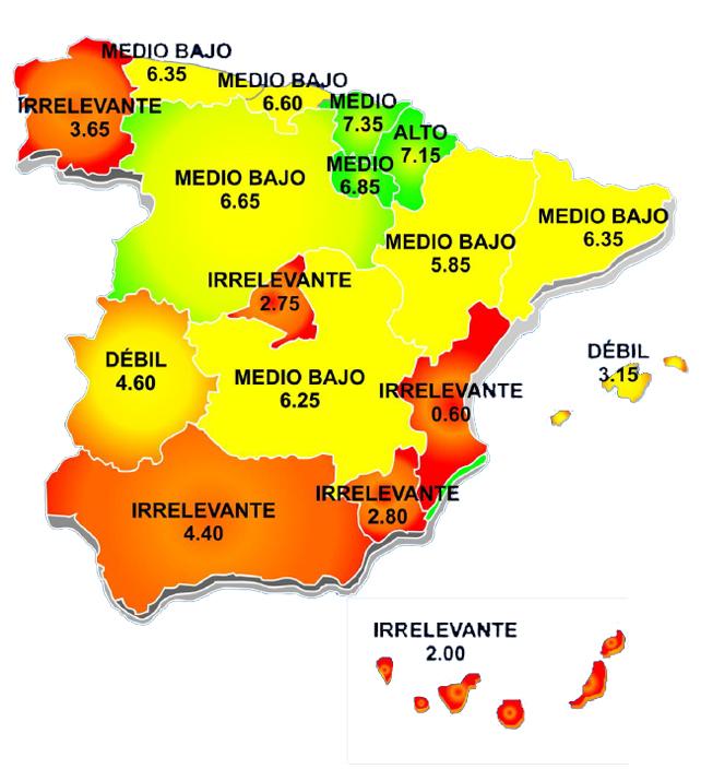 Índice de desarrollo de los servicios sociales en España por comunidades autónomas. Fuente: Índice DEC