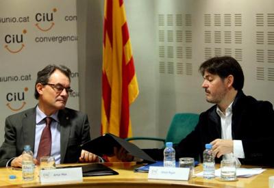 Artur Mas y Oriol Pujol, en una reunión de la direción de CDC.