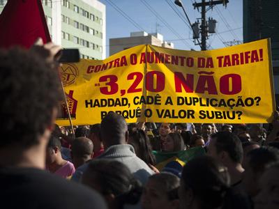 Manifestantes durante una protesta en Sao Paulo. EFE
