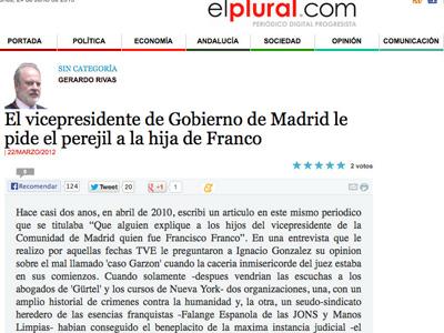 Artículo de Gerardo Rivas en El Plural.