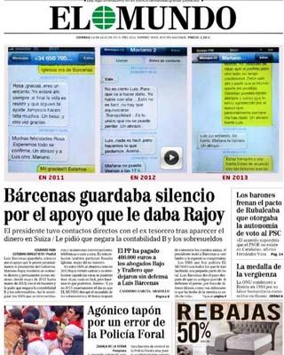 Captura de los mensajes entre Rajoy y Bárcenas difundida por 'El Mundo'.