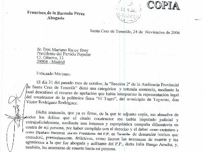 Imagen del burofax donde el ex presidente del PP de Tenerife le anuncia su baja como militante a Rajoy.