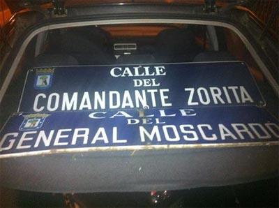 Arrancan placas de calles con nombres de militares franquistas. -FORO POR LA MEMORIA HISTÓRICA