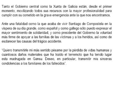 Pésame de Rajoy a las víctimas del terremoto de Gansu, China.