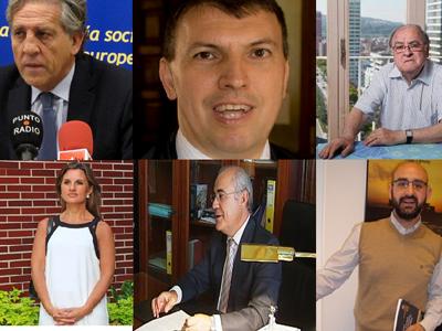 Los juristas Diego López Garrido, Joaquim Bosch, Jose Antonio González Casanova, Silvia Tamayo, Pablo Llarena y Abraham Barrero.