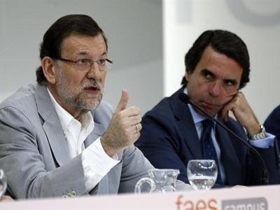 El presidente del Gobierno, Mariano Rajoy, y el presidente de FAES, José María Aznar, en la clausura del Campus de la fundación. -EFE