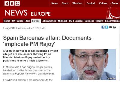 Mariano Rajoy y el caso Bárcenas, en la web de BBC.