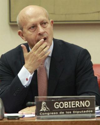 El ministro José Ignacio Wert, esta mañana, en la Comisión de Educación del Congreso. EFE/Bernardo Rodríguez