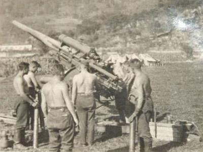 Un cañón antiaéreo utilizado utilizado por soldados nazis en Cangas de Onís.
