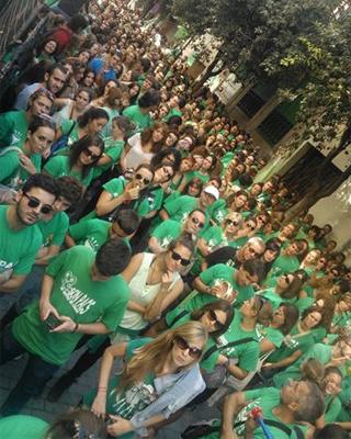 Imagen de la marea verde en Palma de Mallorca. EFE