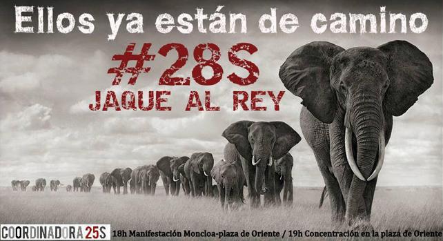 Cartel de la convocatoria 'Jaque al Rrey' de la Coordinadora 25-S.